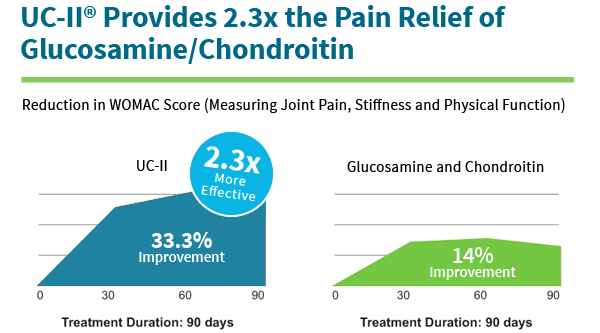 UC-II Provides 2.3x the Pain Relief of Glucosamine/Chondroitin